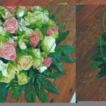 NR 10 - Bloemstuk rond met kraag araliablad en roze rozen en flexigras 100 euro